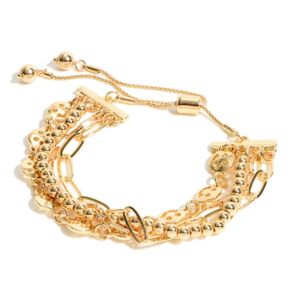 """Smiley Face Chain Link Bolo Bracelet.  - Adjustable Bolo Clasp - Approximately 3"""" in Diameter"""