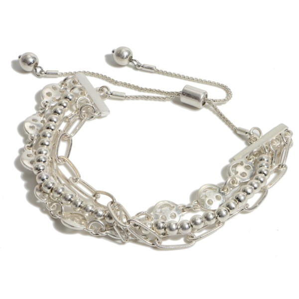 """Smiley Face Chain Link Bolo Bracelet in a Worn Finish.  - Adjustable Bolo Clasp - Approximately 3"""" in Diameter"""