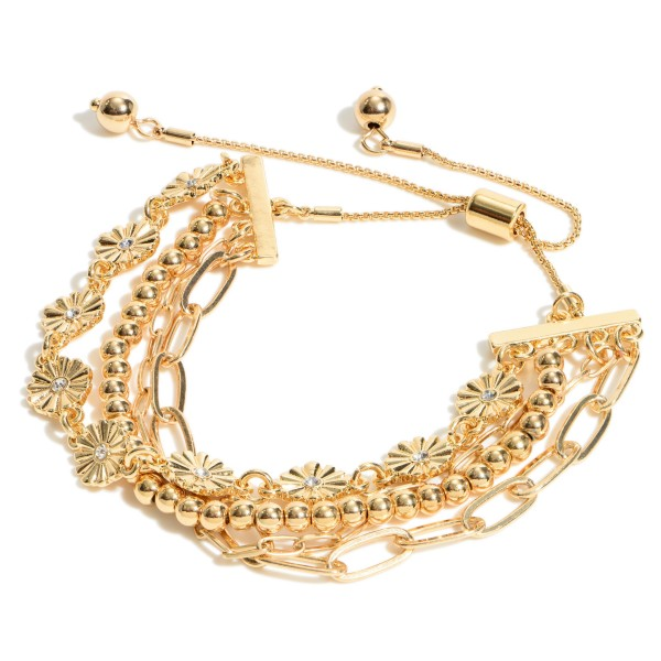 """Flower Chain Link Bolo Bracelet.  - Adjustable Bolo Clasp - Approximately 3"""" in Diameter"""