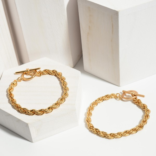 """Rope Chain Toggle Bar Bracelet.  - Toggle Bar Clasp - Approximately 3"""" in Diameter"""