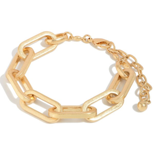 """Chain Link Statement Bracelet in a Worn Finish.  - Approximately 3"""" in Diameter  - 3"""" Adjustable Clasp"""