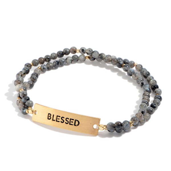 """Natural Stone Beaded Double Stranded Blessed Stretch Bracelet.  - Focal 1""""  - Approximately 3"""" in Diameter"""