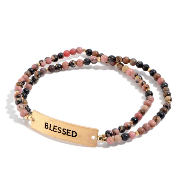 "Natural Stone Beaded Double Stranded Blessed Stretch Bracelet.  - Focal 1""  - Approximately 3"" in Diameter"