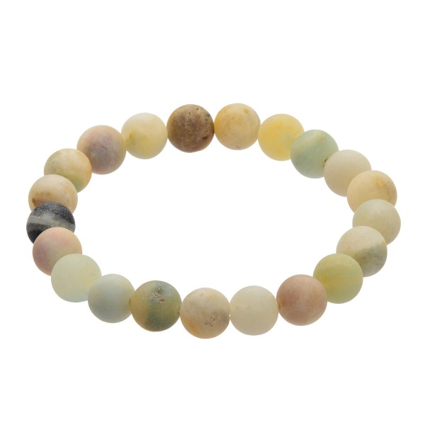 "Natural Stone Beaded Stretch Bracelet.  - Bead Size 7mm - Approximately 3"" in Diameter"