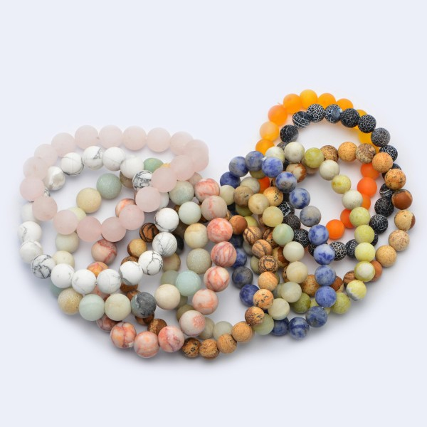 """Natural Stone Beaded Stretch Bracelet.  - Bead Size 9mm - Approximately 3"""" in Diameter"""