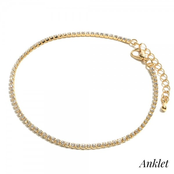 "Single Strand Rhinestone Anklet.  - Approximately 4"" in Diameter  - 2"" Adjustable Extender"