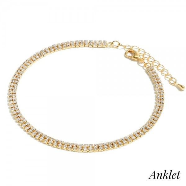 """Double Row Rhinestone Anklet.  - Approximately 4"""" in Diameter - 2"""" Adjustable Extender"""