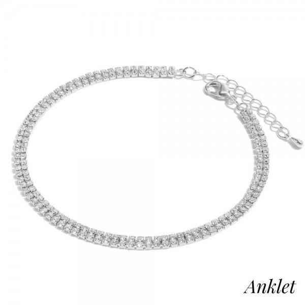 "Double Row Rhinestone Anklet.  - Approximately 4"" in Diameter - 2"" Adjustable Extender"