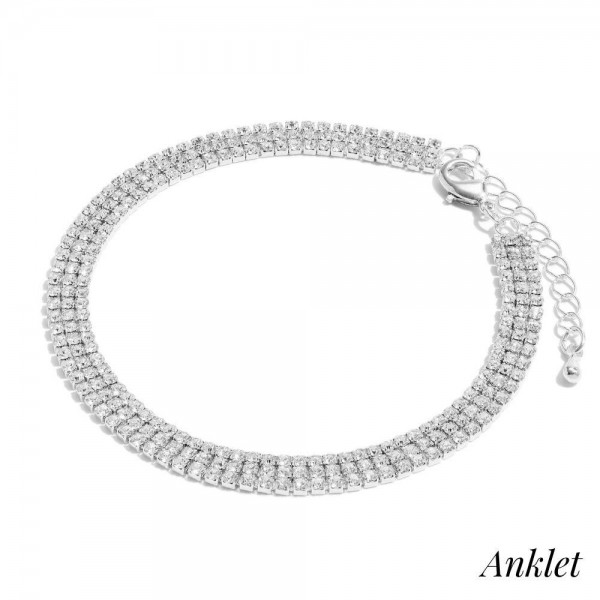 "3 Row Rhinestone Anklet.  - Approximately 4"" in Diameter - 2"" Adjustable Extender"