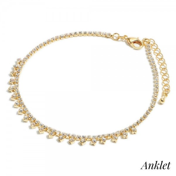 "Rhinestone Drip Anklet.  - Approximately 4"" in Diameter  - 2"" Adjustable Extender"