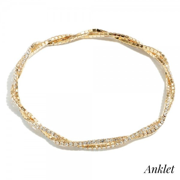 "Double Twisted Rhinestone Stretch Anklet.  - Approximately 4"" in Diameter"