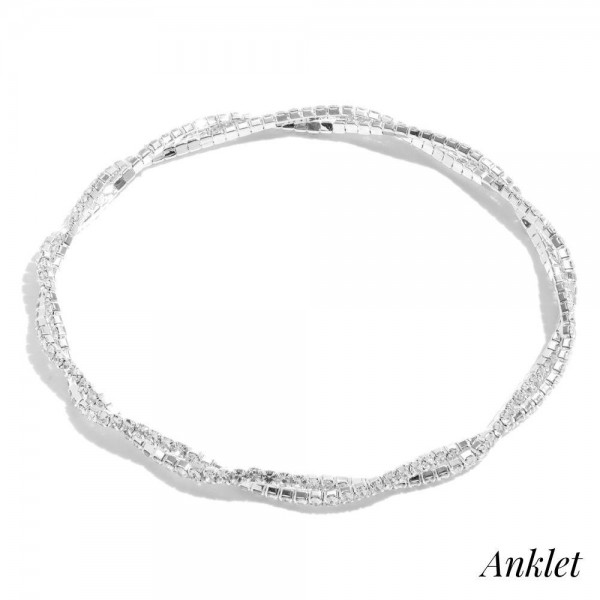 """Double Twisted Rhinestone Stretch Anklet.  - Approximately 4"""" in Diameter"""