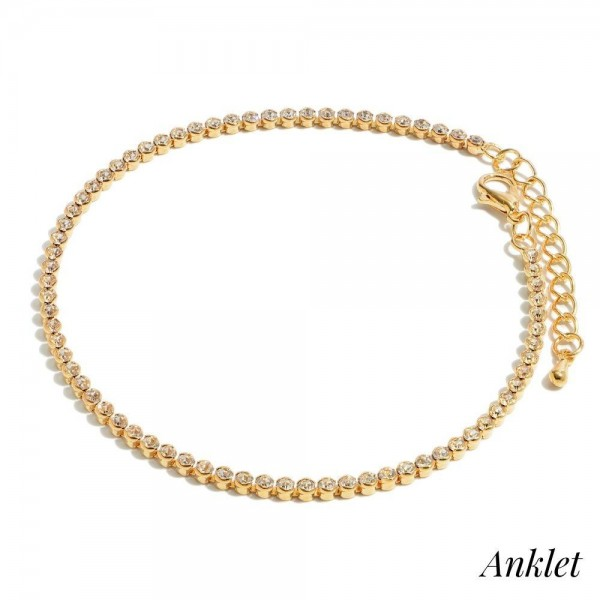 """Rounded Rhinestone Anklet.  - Approximately 4"""" in Diameter  - 2"""" Adjustable Extender"""