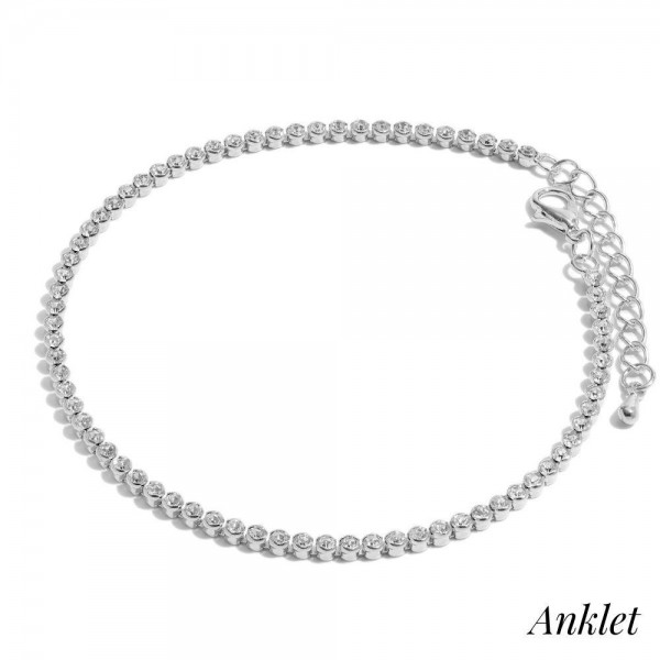 "Rounded Rhinestone Anklet.  - Approximately 4"" in Diameter  - 2"" Adjustable Extender"