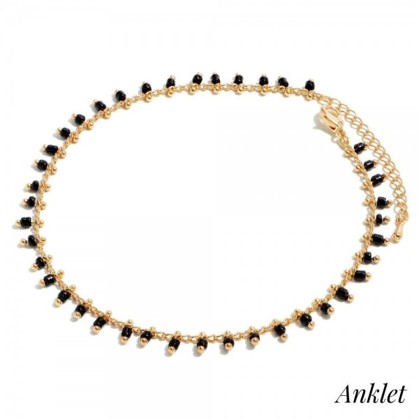 """Dangle Seed Beaded Chain Anklet.  - Approximately 4"""" in Diameter - 2"""" Adjustable Extender"""