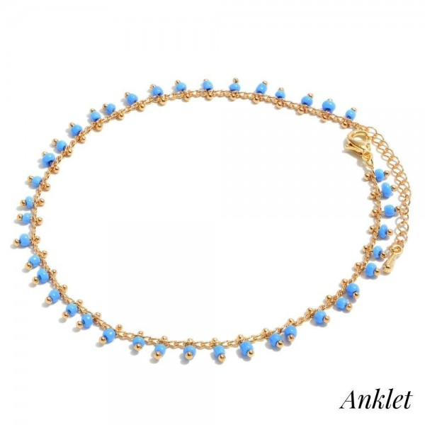 "Dangle Seed Beaded Chain Anklet.  - Approximately 4"" in Diameter - 2"" Adjustable Extender"