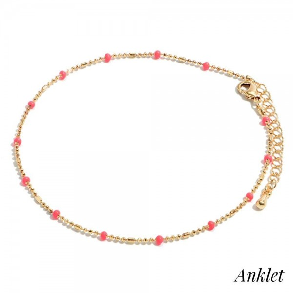 "Dainty Chain Anklet Featuring Enamel Coated Accents.  - Approximately 4"" in Diameter - 2"" Adjustable Extender"