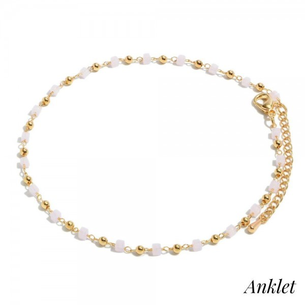 """Square Beaded Chain Anklet.  - Approximately 4"""" in Diameter - 2"""" Adjustable Extender"""
