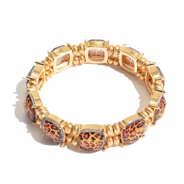 "Leopard Print Crystal Stretch Bracelet.  - Approximately 3"" in Diameter"