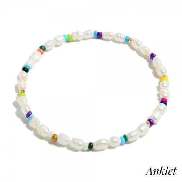 "Freshwater Pearl Beaded Stretch Anklet Featuring Multicolor Accents.  - Bead Size: 3mm - Approximately 4"" in Diameter"