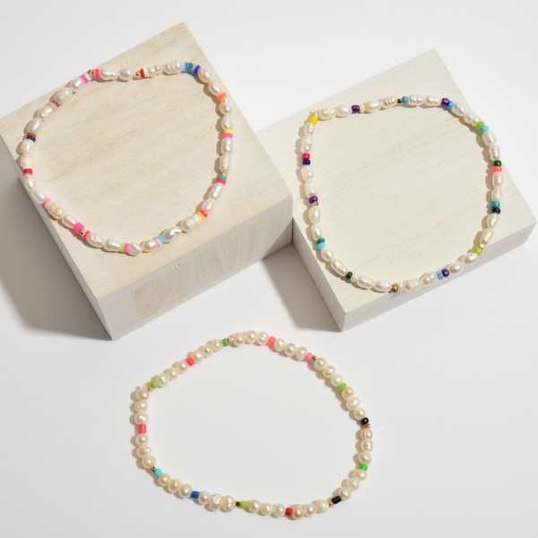 """Freshwater Pearl Beaded Stretch Anklet Featuring Multicolor Accents.  - Bead Size: 3mm - Approximately 4"""" in Diameter"""