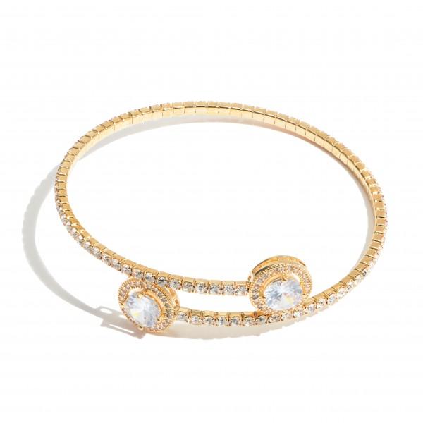 "Rhinestone Tennis Cuff Bracelet.  - Approximately 3"" in Diameter"
