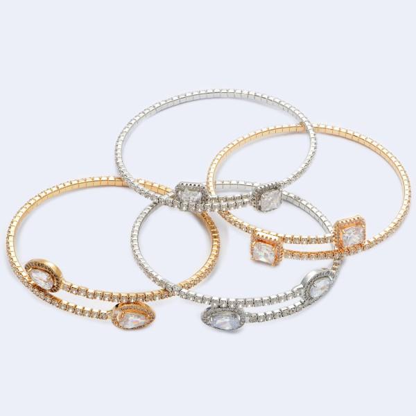"""Rhinestone Square Cuff Tennis Bracelet.  - Square Cuff Detail - Approximately 3"""" in Diameter"""