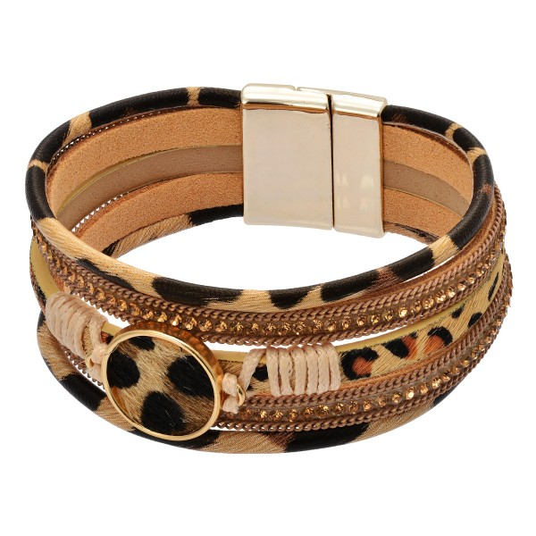"Leopard Print Cowhide Magnetic Bracelet.  - Magnetic Closure - Approximately 3"" in Diameter"
