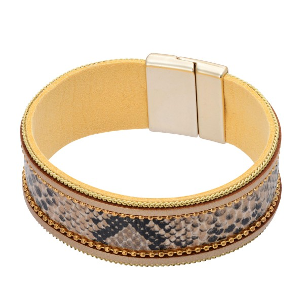 "Faux Leather Snakeskin Magnetic Bracelet.  - Magnetic Closure - Approximately 3"" in Diameter"
