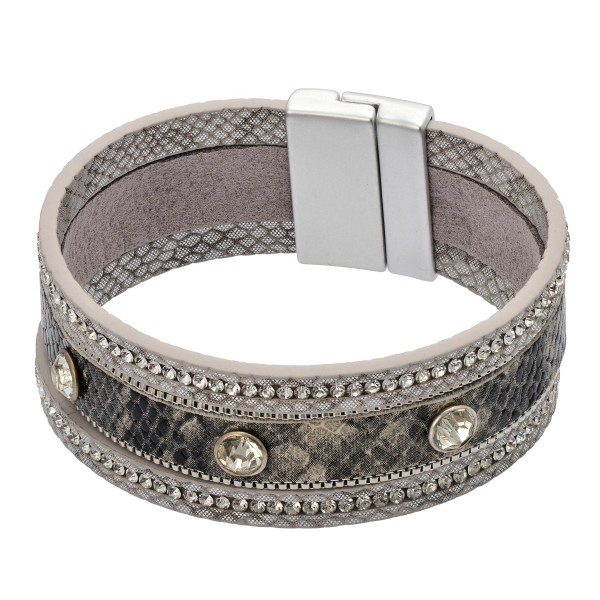 "Faux Leather Rhinestone Snakeskin Magnetic Bracelet.  - Magnetic Closure - Approximately 3"" in Diameter"
