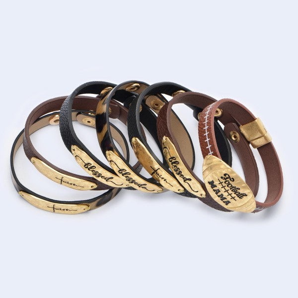 "Faux Leather Blessed Snap Bracelet.  - Blessed Focal approx 1.75""  - Adjustable Snap Button Closure - Approximately 3"" in Diameter"