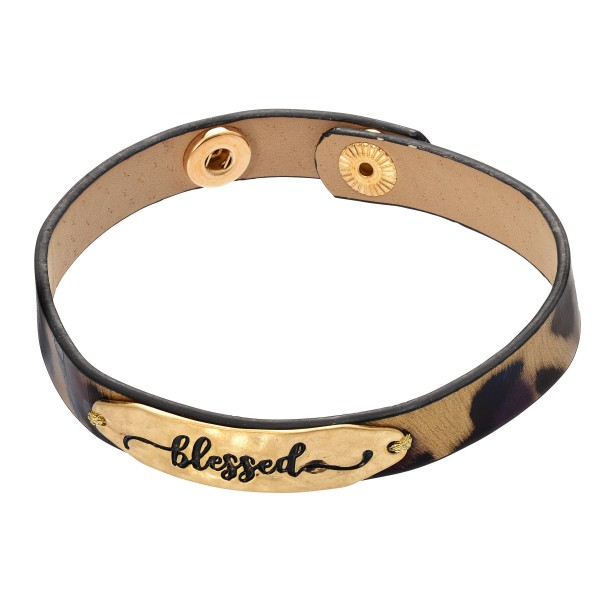 "Leopard Print Blessed Snap Bracelet.  - Blessed Focal approx 1.75""  - Adjustable Snap Button Closure - Approximately 3"" in Diameter"