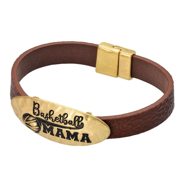 "Faux Leather Basketball Mama Magnetic Bracelet.  - Magnetic Closure - Approximately 3"" in Diameter"