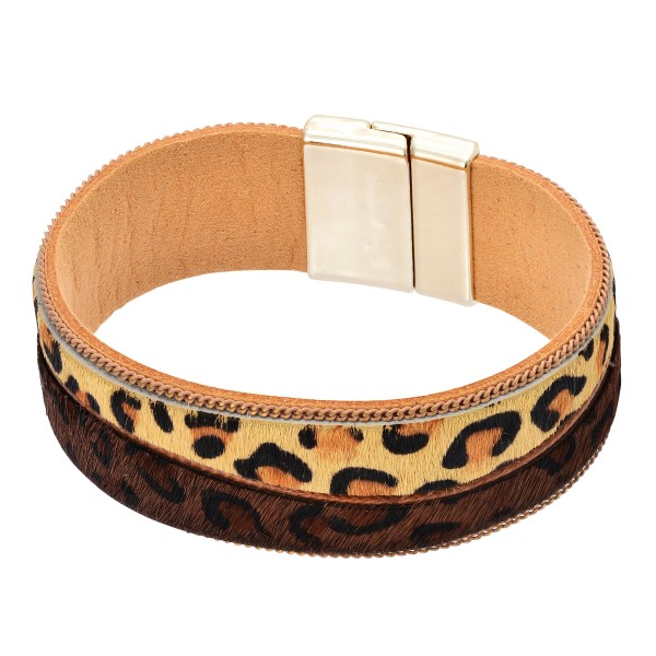 "Two Tone Faux Leather Leopard Print Magnetic Bracelet.  - Magnetic Closure - Approximately 3"" in Diameter"