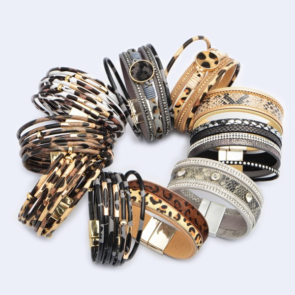 """Multi Strand Leopard Print Magnetic Bracelet Featuring Gold Bead Accents.  - Magnetic Closure - Approximately 3"""" in Diameter"""