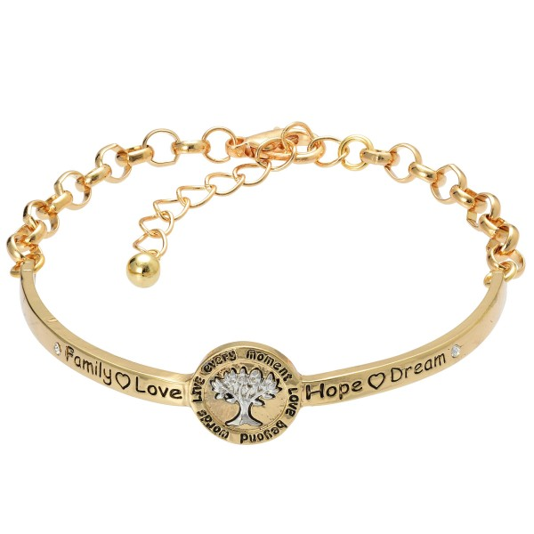 """Two Tone Inspirational Tree of Life Bangle Cuff Bracelet.  - Half Cuff Half Chain  - Approximately 3"""" in Diameter  - 2"""" Adjustable Extender"""