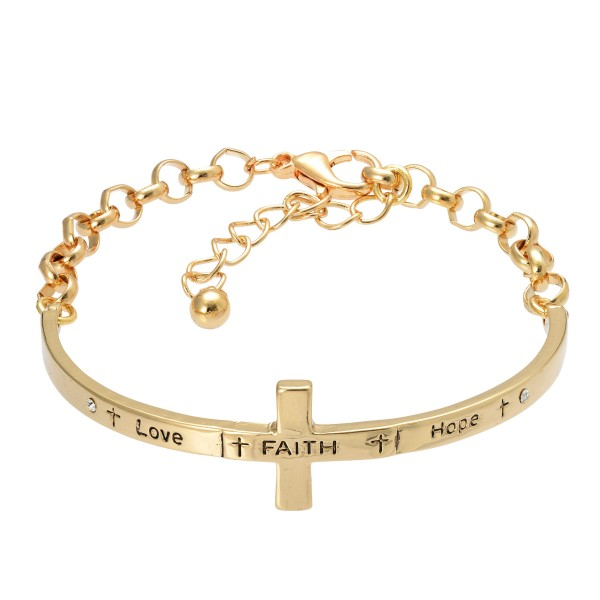"Inspirational Cross Bangle Cuff Bracelet in Gold.  - Half Cuff Half Chain - Approximately 3"" in Diameter - 2"" Adjustable Extender"