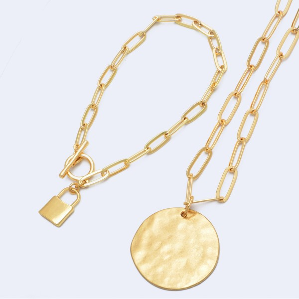 """Gold Lock Charm Toggle Bar Bracelet.  - Charm approximately 12mm - Approximately 3"""" in Diameter"""