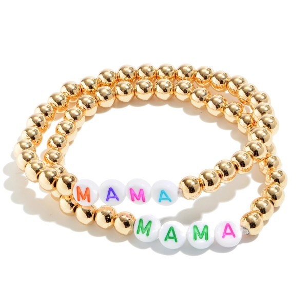 "2 PC Multicolor MAMA Pisa Beaded Stretch Bracelet Set in Gold.  - 2 PC Per Set - Approximately 3"" in Diameter"