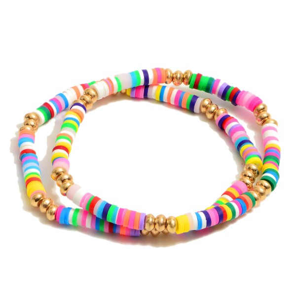 """2 PC Rubber Spacer Beaded Stretch Bracelet Set Featuring Gold Accents.  - 2 PC Per Set - Bead Diameter 3mm - Approximately 3"""" in Diameter"""