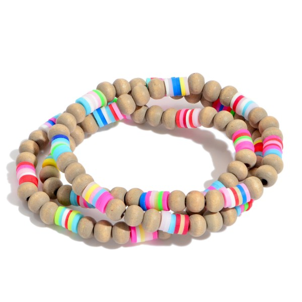 """3 PC Wood Beaded Stretch Bracelet Set Featuring Multicolor Rubber Heishi Bead Details.  - 3 PC Per Set - Bead Size 5mm - Approximately 3"""" in Diameter"""