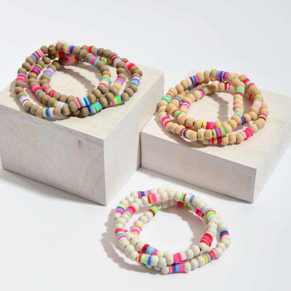 """3 PC Wood Beaded Stretch Bracelet Set Featuring Multicolor Rubber Spacer Details.  - 3 PC Per Set - Bead Size 5mm - Approximately 3"""" in Diameter"""