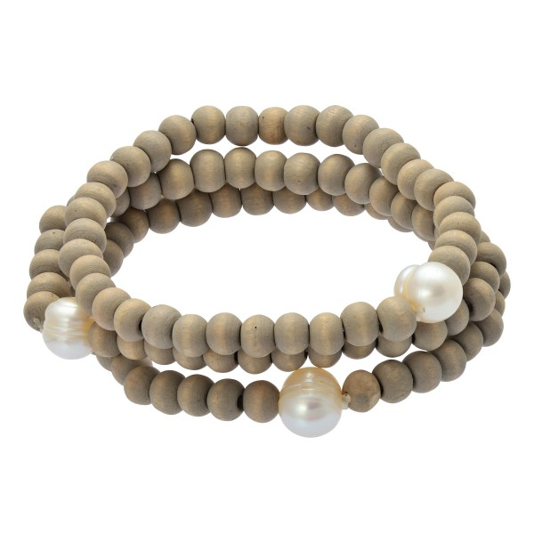 "3 PC Wood Beaded Pearl Stretch Bracelet Set.  - 3 PC Per Set - Approximately 3"" in Diameter"