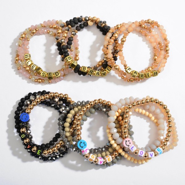 """3 PC Inspirational """"Blessed"""" Block Letter Beaded Stretch Bracelet Set in Gold.  - 3 PC Per Set - Approximately 3"""" in Diameter"""