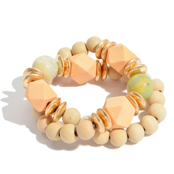 "2 PC Wood Beaded Statement Stretch Bracelet Set Featuring Glass Bead Details.  - 2 PC Per Set - Approximately 3"" in Diameter"