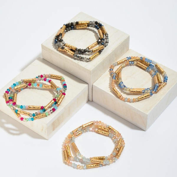 "3 PC Beaded Stretch Bracelet Set Featuring Hammered Tube Beads in Gold.  - 3 PC Per Set - Approximately 3"" in Diameter"