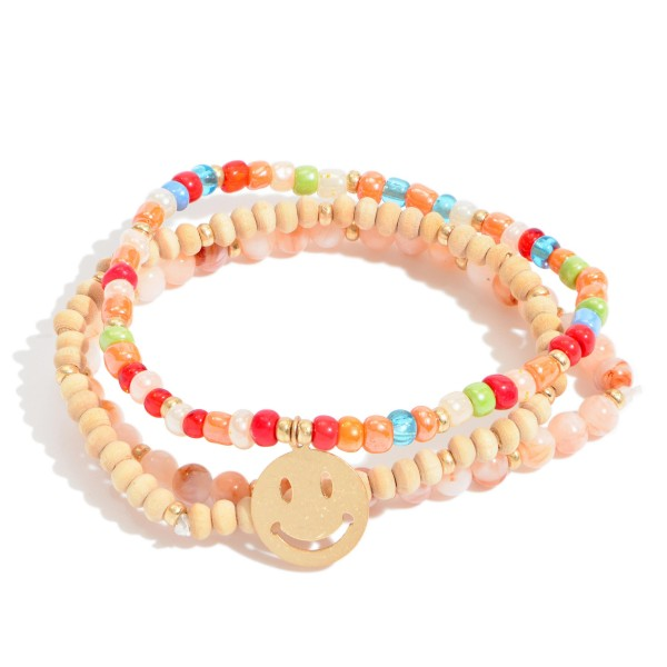 "3 PC Beaded Smily Charm Stretch Bracelet Set.  - 3 PC Per Set - Approximately 3"" in Diameter"