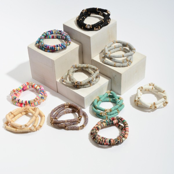 """3 PC Rubber Spacer Beaded Stretch Bracelet Set Featuring Glass Bead Details.  - 3 PC Per Set - Approximately 3"""" in Diameter"""