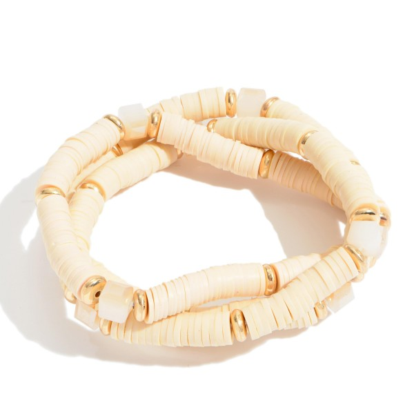 """3 PC Rubber Heishi Beaded Stretch Bracelet Set Featuring Glass Bead Details.  - 3 PC Per Set - Approximately 3"""" in Diameter"""