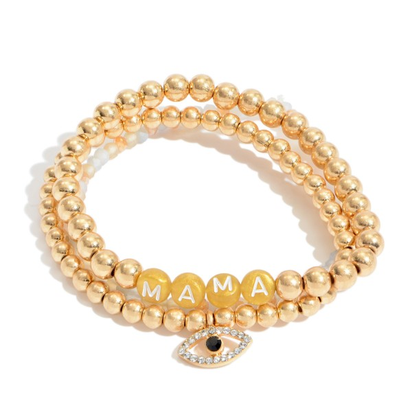 """3 PC Pisa Beaded Stretch Bracelet Set in Gold Featuring an Evil Eye Charm.  - 3 PC Per Set - Bead Sizes 2mm - 5mm - Approximately 3"""" in Diameter"""